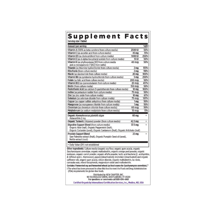 New Chapter Every Man's 1 Daily 55+ Multivitamin 72T Supplement Facts