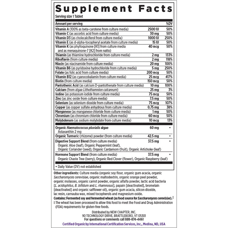 New Chapter Every Woman's 1 Daily 55+ Multivitamin Supplement Facts