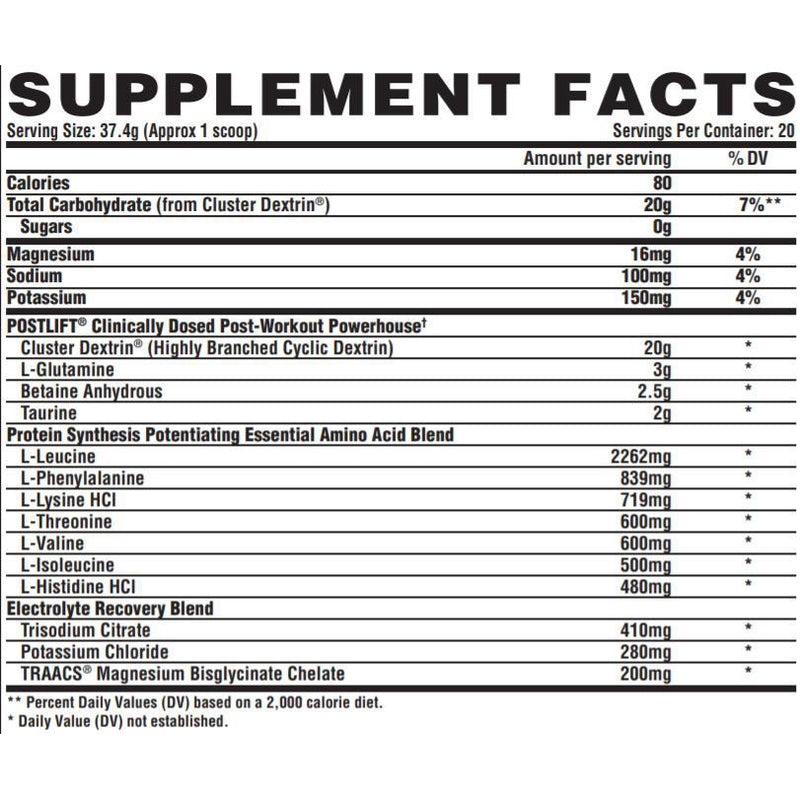 Nutrex Post Lift 20 Servings New Formula Supplement Facts