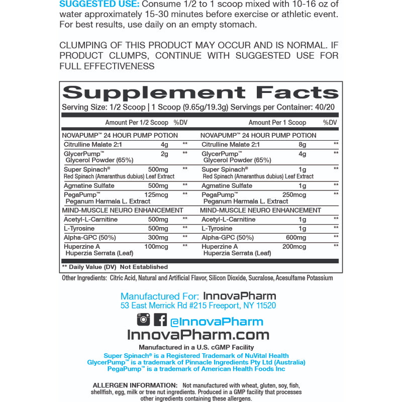 InnovaPharm NovaPump Neuro supplement facts