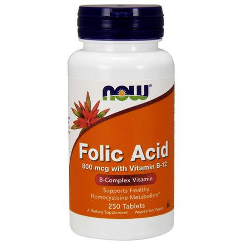 Now Foods Folic Acid with B12 800mcg 250T