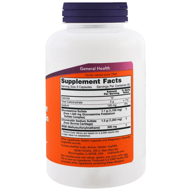 Now Foods Glucosamine & Chondroitin with MSM Supplement Facts