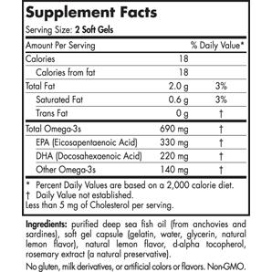 Nordic Naturals Omega 3 Supplement Facts
