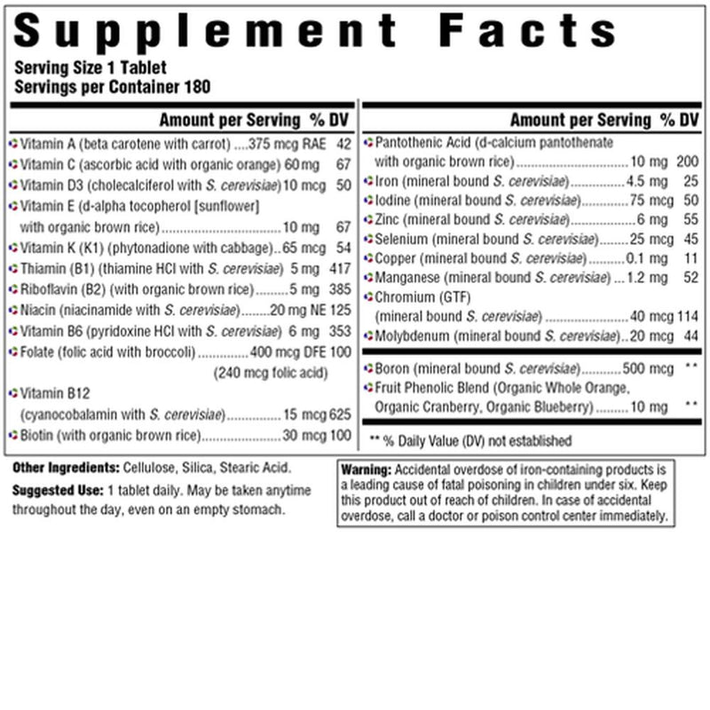 MegaFood One Daily Supplement Facts