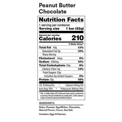 RX Bar Nutrition Facts Peanut Butter Chocolate
