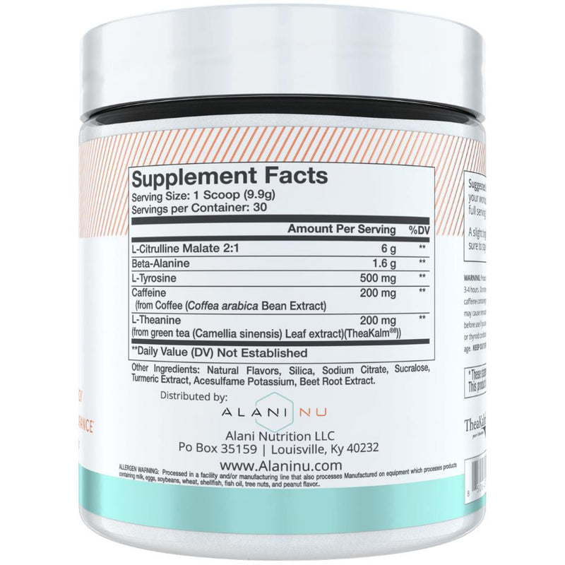 Alani Nutrition Pre Workout 30 Servings Supplement Facts