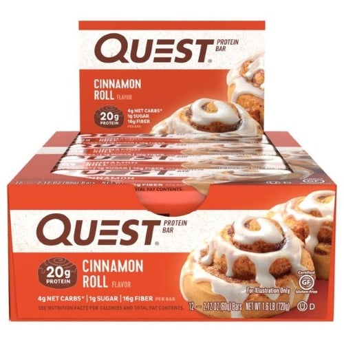 Quest Bar Box of 12 Cinnamon Roll