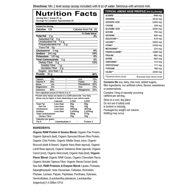Garden of Life Raw Protein & Greens Supplement Facts