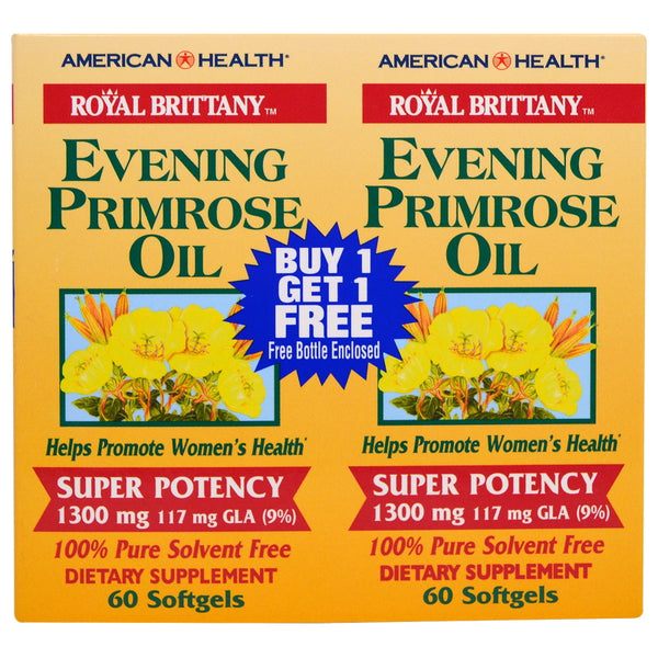 American Health Royal Brittany Evening Primrose Oil 1300mg 60sg (Twin Pack)