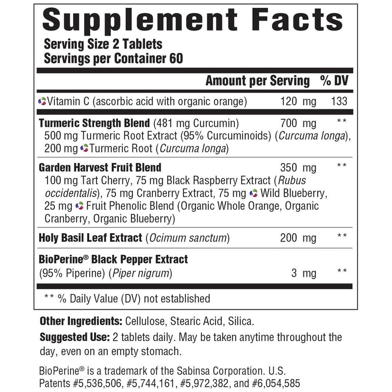 MegaFood Turmeric Strength for Whole Body Supplement Facts