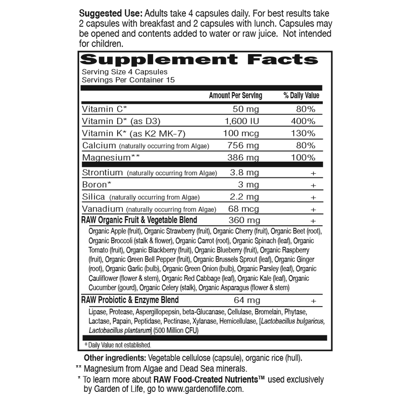 Garden of Life Vitamin Code Raw Calcium 60VC Supplement Facts