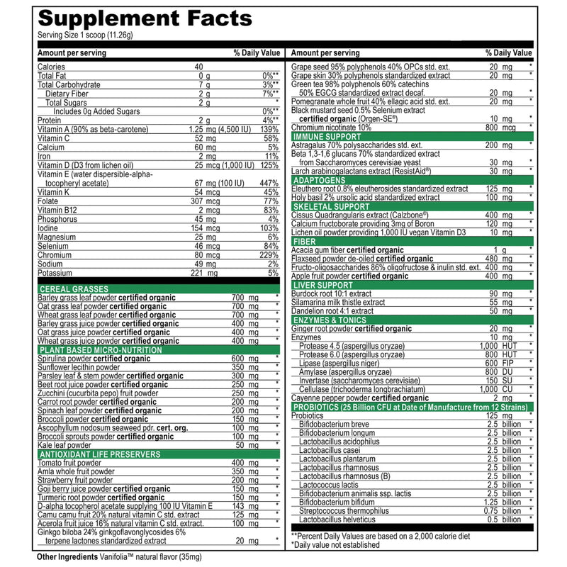 Vibrant Health Green Vibrance 60 Servings Supplement Facts