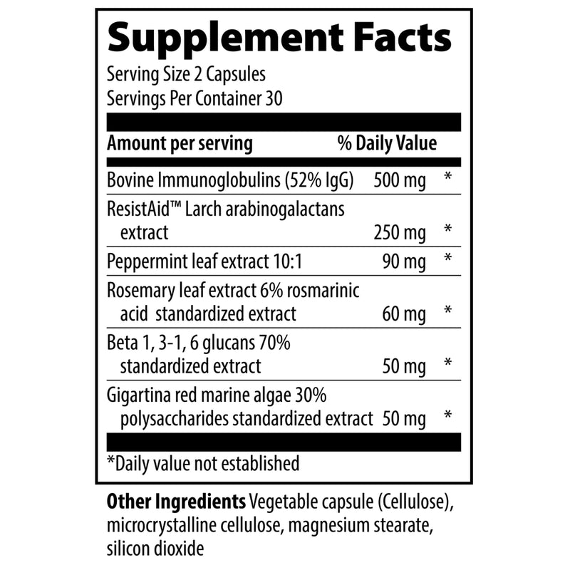 Vibrant Health Immune Defense 60VC Supplement Facts