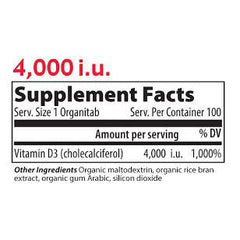 Vibrant Health Vitamin D3 4000IU Supplement Facts