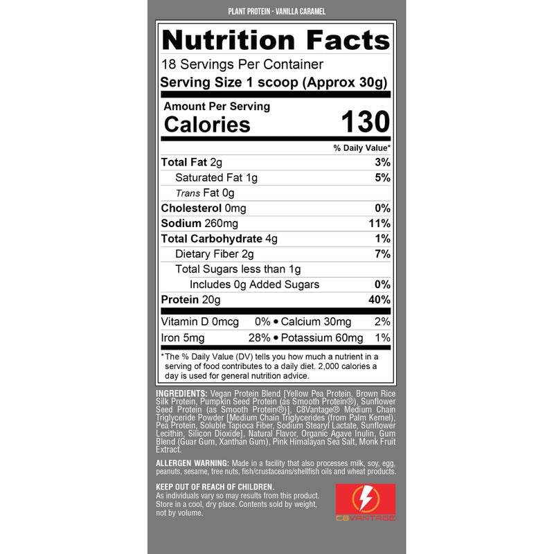 Nutrex Research Plant Protein Vanilla Caramel Nutrition Facts