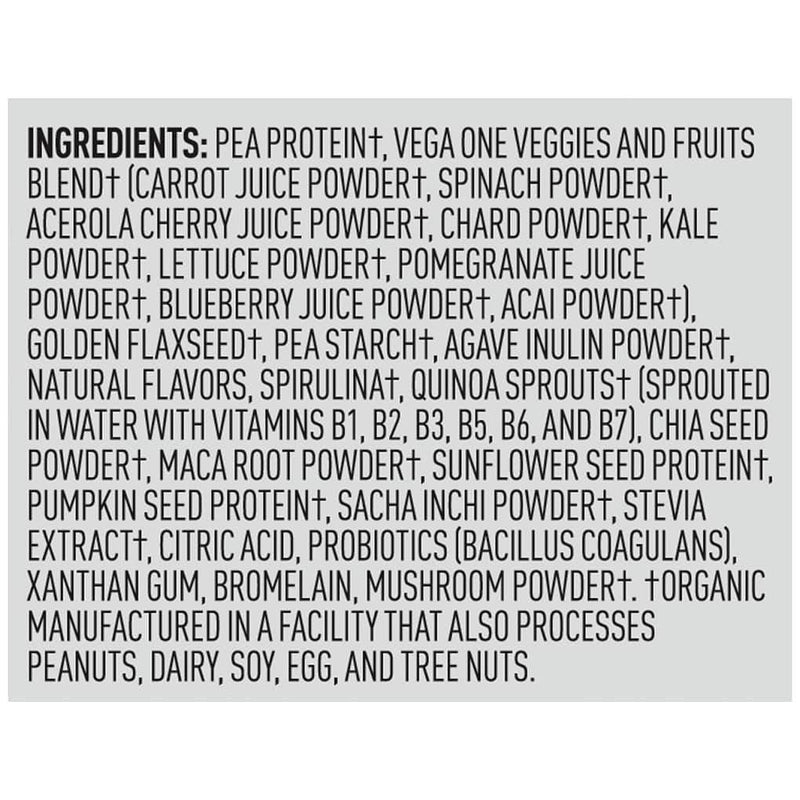 Vega One Shake Small Vanilla Ingredients