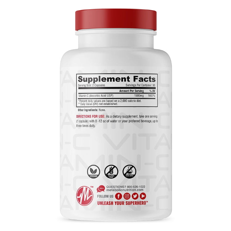 Metabolic Nutrition Vitamin C 90c Supplement Facts