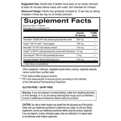 Garden of Life Wobenzym N 100T Supplement Facts