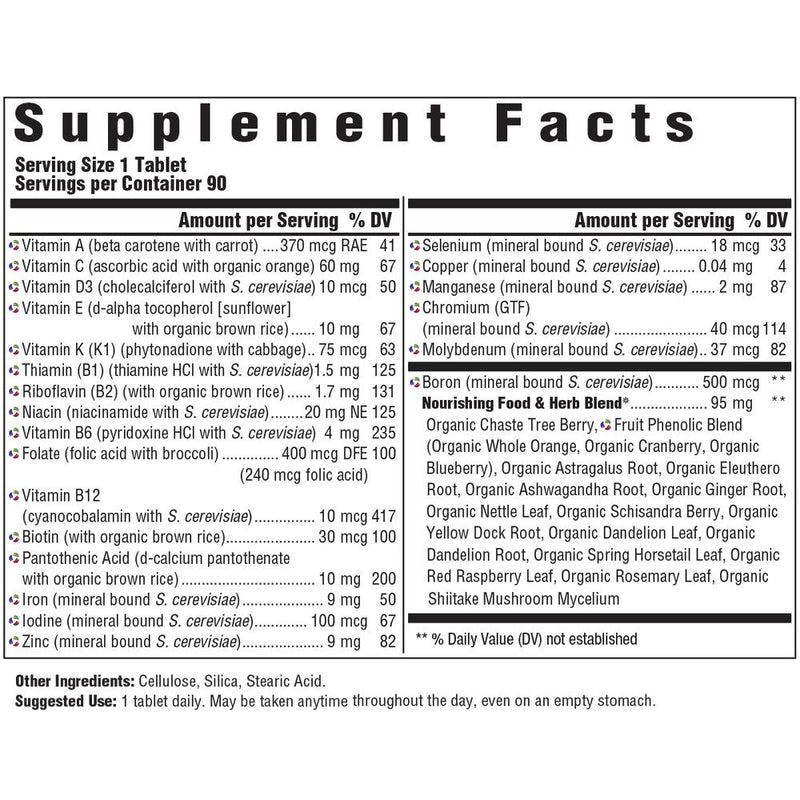 MegaFood Women's One Daily Supplement Facts