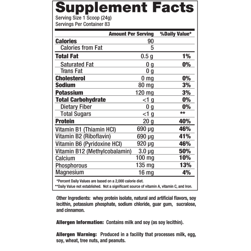 VPX Zero Carb SRO 4.4lb Supplement Facts
