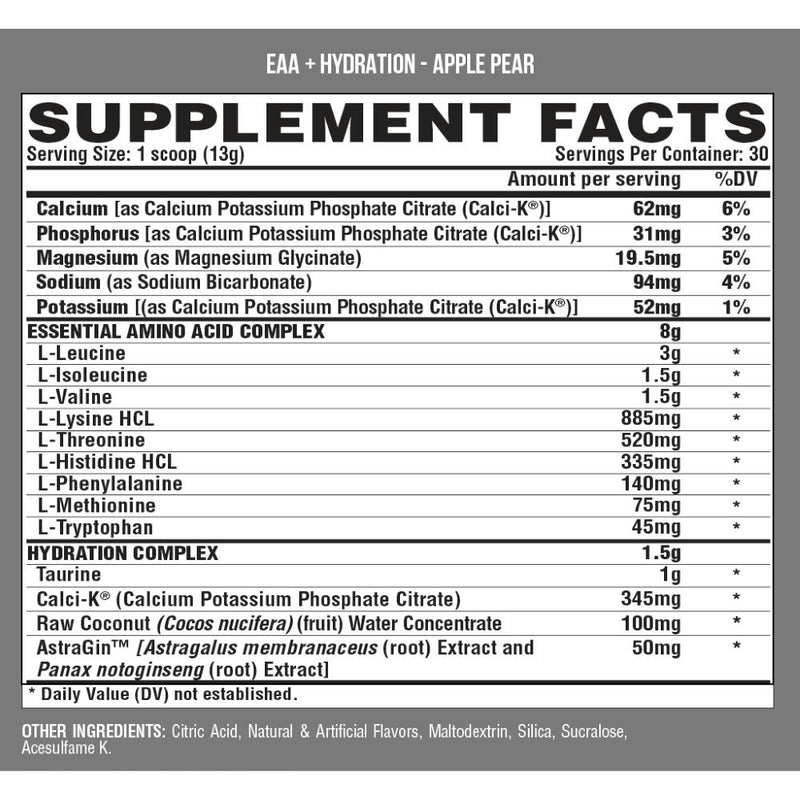 Nutrex EAA + Hydration Apple Pear Supplement Facts