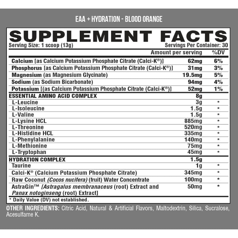 Nutrex EAA + Hydration Blood Orange Supplement Facts
