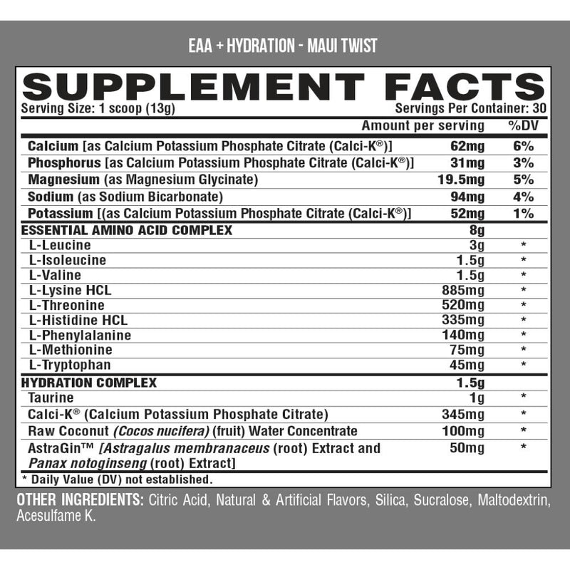 Nutrex EAA + Hydration Maui Twist Supplement Facts