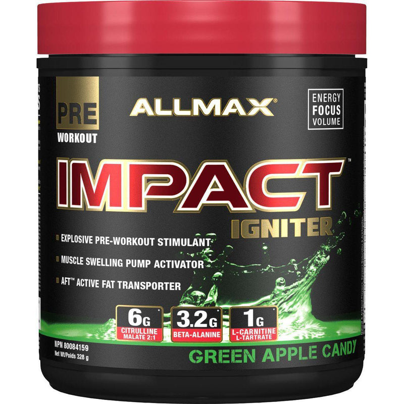AllMax Nutrition Impact Igniter Green Apple Candy