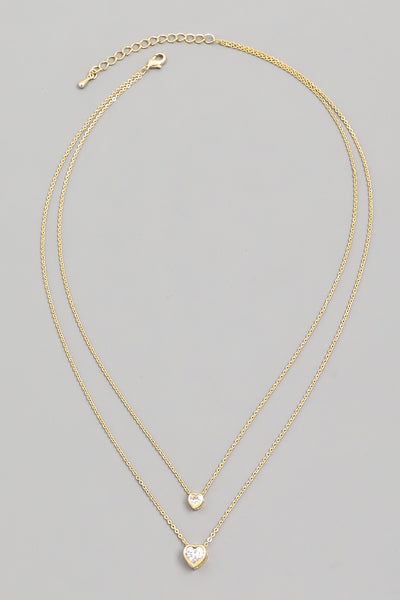 Dainty Heart Stud Charm Necklace