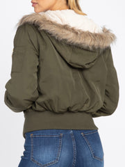 Faux Fur Trim Hooded Jacket