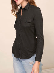 Black Maisy Button Down Top