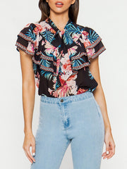 Tropical Black Floral Print Top