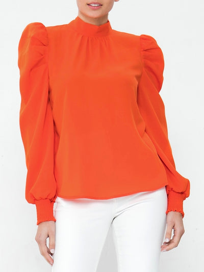 Orange Cristina Woven Top