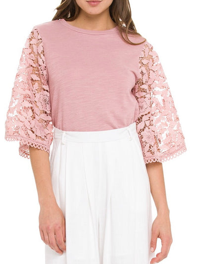 Rosy Crochet Bell Sleeves Top