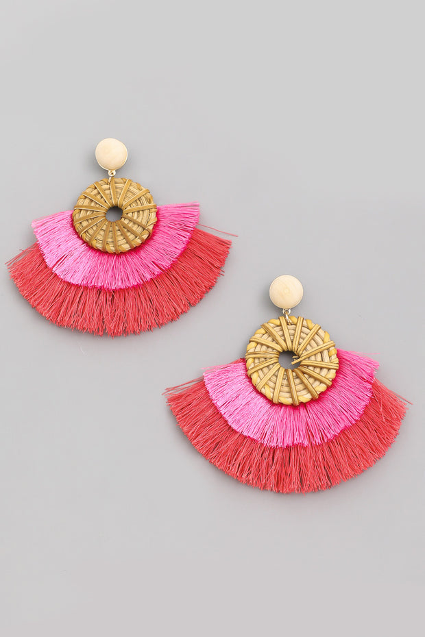 Layered Tassel Fan Earrings