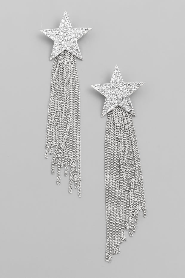 Silver Rhinestone Star Chain Fringe Earrings