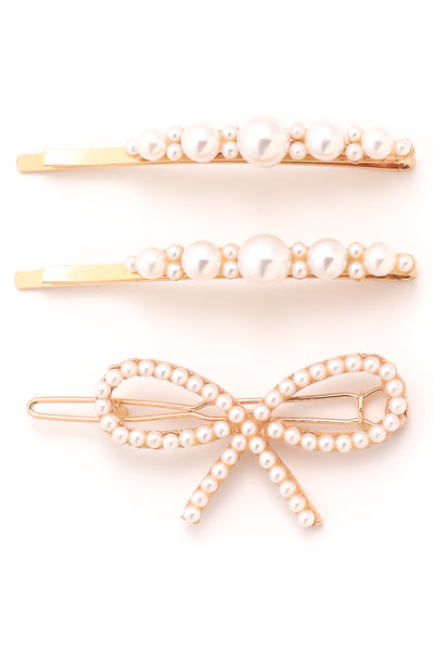 Ribbon Pearl Hair Pin Set