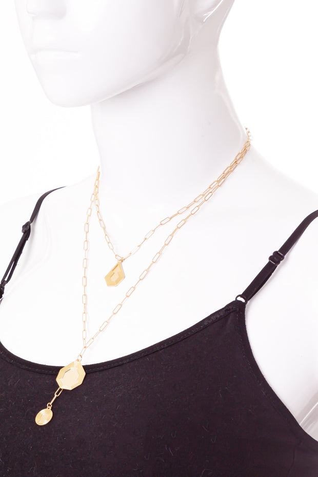 Chain Link Geo Shape Layered Charm Necklace