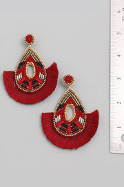 Beaded Fan Teardrop Earrings