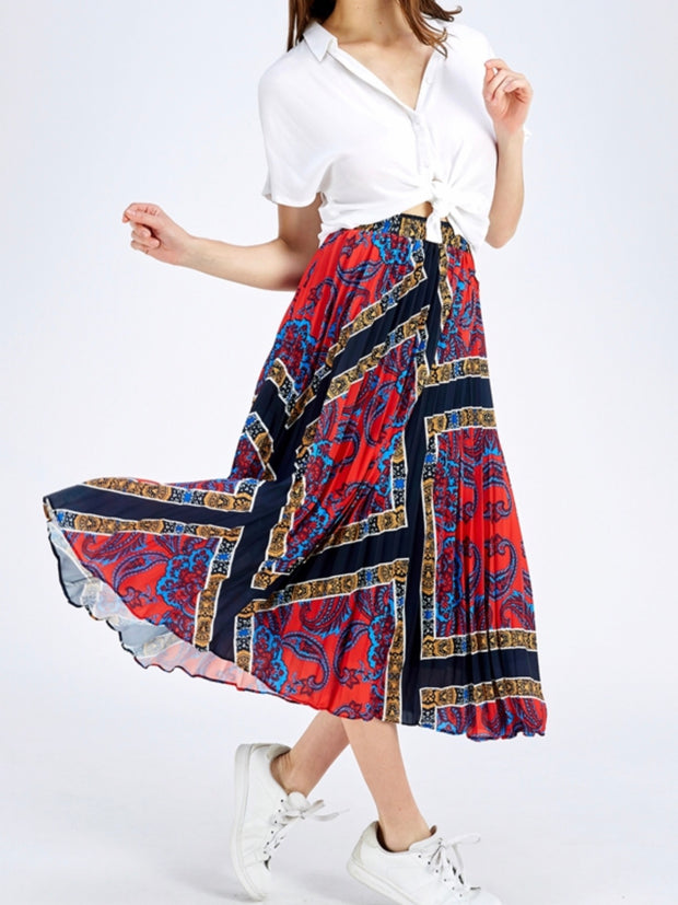 Scarf Printed Pleated Midi Skirt