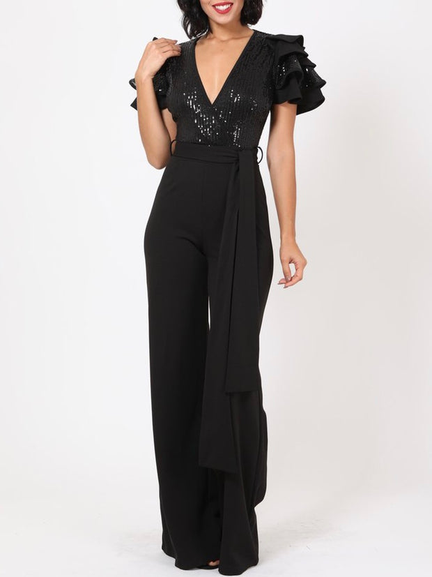 Sequin Ruffled Jumpsuit