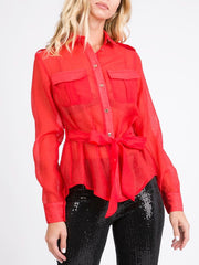 Red Woven Top
