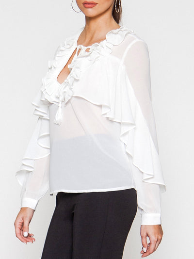 White Ruffled Top