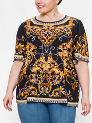 Baroque Pearl Print Blouse