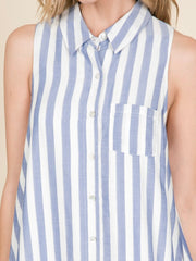 Sleeveless Striped Button Down Dress