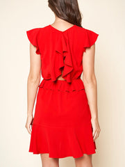 Monica Red Ruffle Dress