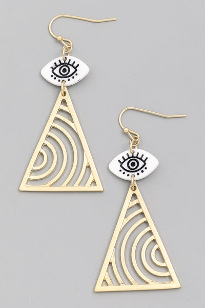Eye Triangle Drop Earrings