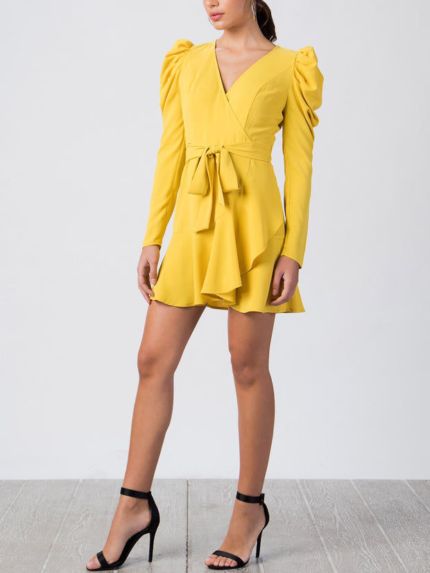 Yellow Puff Sleeve Woven Dress