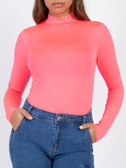 Neon Pink Mock Neck Bodysuit Top
