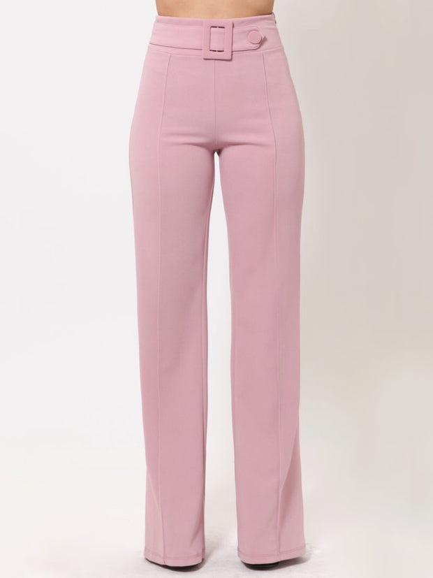 Pink Rectangle Buckle & Button Bottoms